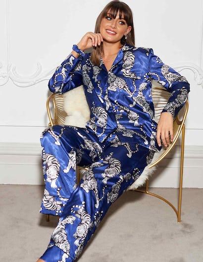 Blue Tiger Print Pyjama Set