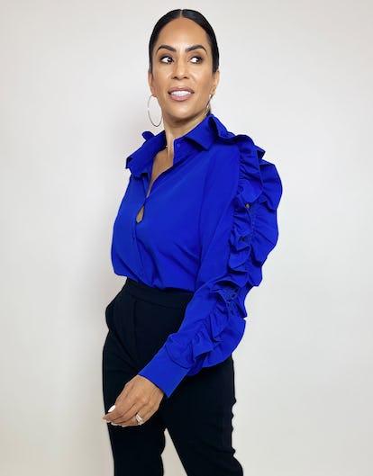 Cobalt Blue Shirt with Ruffle Sleeve Details