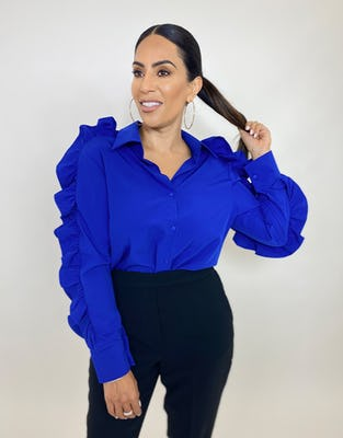 Cobalt Blue Shirt with Ruffle Sleeve Details