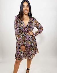 Sheer Ditsy Print Mini Dress