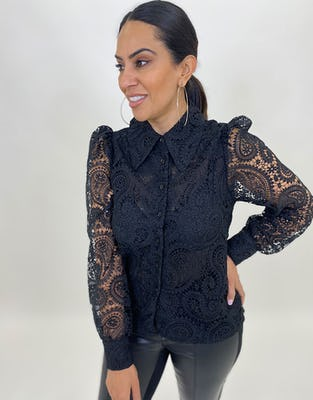 Black Lace Embroidered Collared Shirt