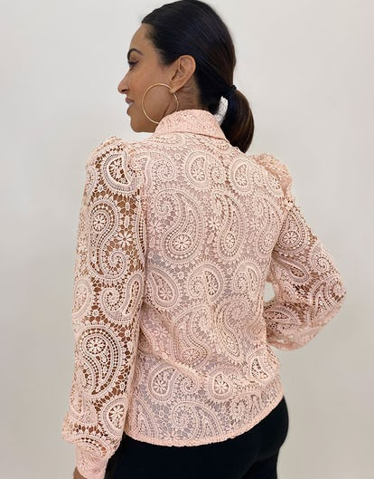 Blush Lace Embroidered Collared Shirt