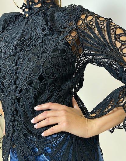 Black Broderie Anglaise Shirt