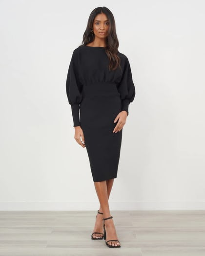 Black Batwing Sleeve Knitted Dress