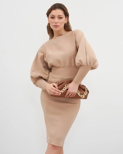 Camel Batwing Sleeve Knitted Dress