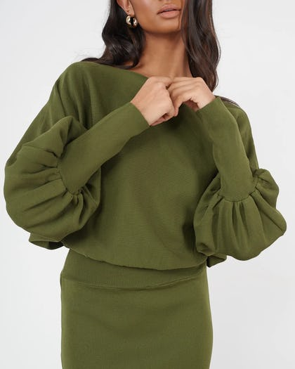 Khaki Batwing Sleeve Knitted Dress