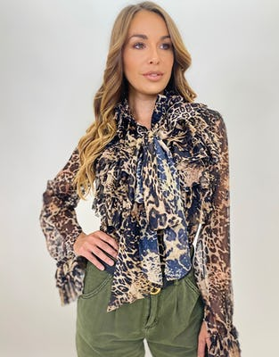 Leopard Print Ruffle Neck Pussybow Blouse