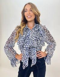 Leopard Print Ruffle Neck Bow Blouse