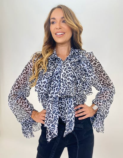 Grey Leopard Print Ruffle Neck Bow Blouse