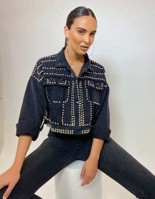 Black Cropped Denim Jacket with Stud and Gem Embellishment