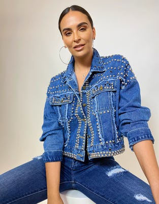 Cropped Denim Jacket with Stud and Gem Embellishment