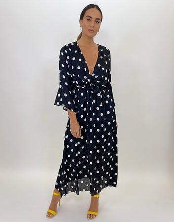 Polka Dot Dress Gathered Waist Maxi Dress