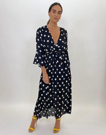Polka Dot Dress Gathered Waist Maxi Dress