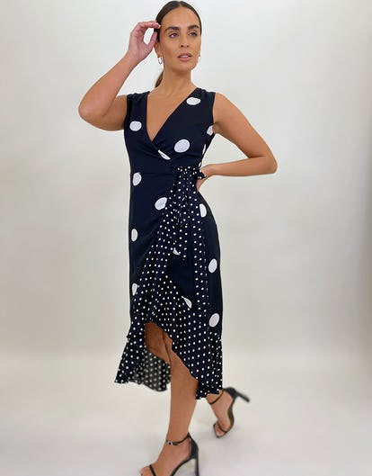 Polka Dot Sleeveless Wrap Dress