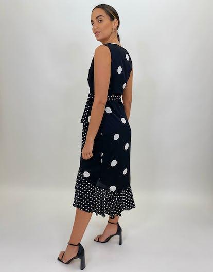 Polka Dot Sleeveless Wrap Dress