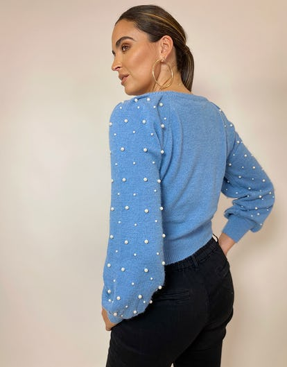 Blue Crew Neck Jumper with Pearl Embellishment
