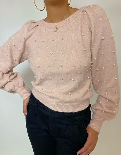 Blush Crew Neck Jumper with Pearl Embellishment