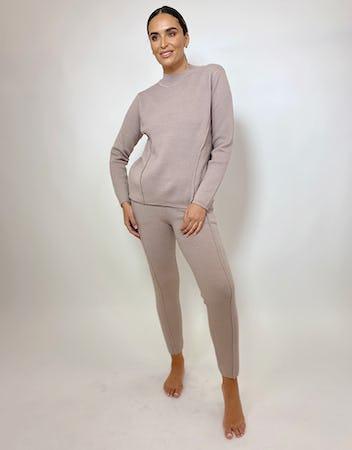 Taupe Boxy Knit Loungewear Set