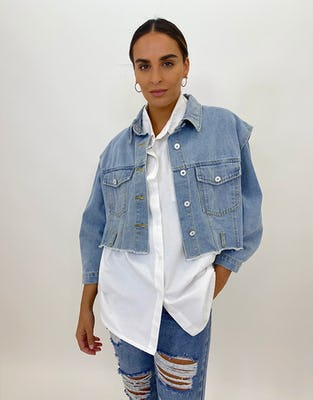 Two Piece Sleeveless Denim Jacket with Oversized White Shirt with Denim Sleeves