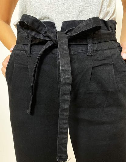 Black Denim Paperbag Waist Skinny Jeans