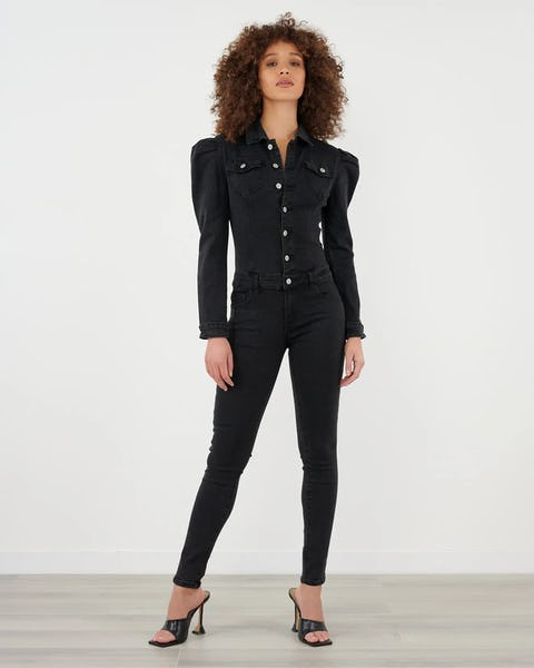 Black Denim Puff Shoulder Jumpsuit