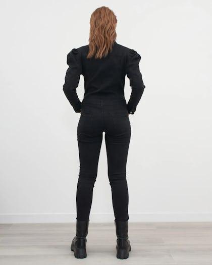 Puff Shoulder Denim Jumpsuit