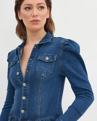 Puff Shoulder Denim Jumpsuit