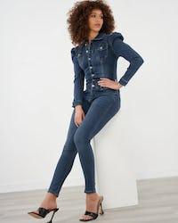 Blue Denim Puff Shoulder Jumpsuit