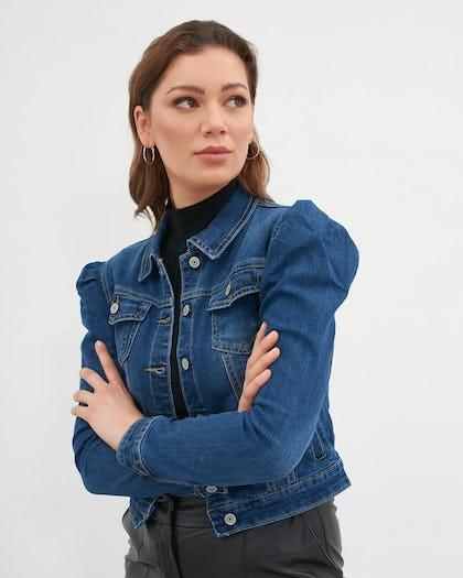 Puff Shoulder Denim Jacket steel blue