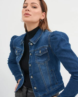 Puff Shoulder Denim Jacket steel blue