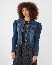 Blue Puff Shoulder Denim Jacket