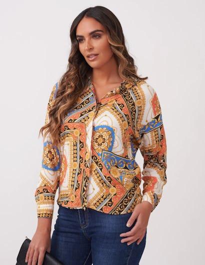 Coral and Blue Baroque Print Shirt