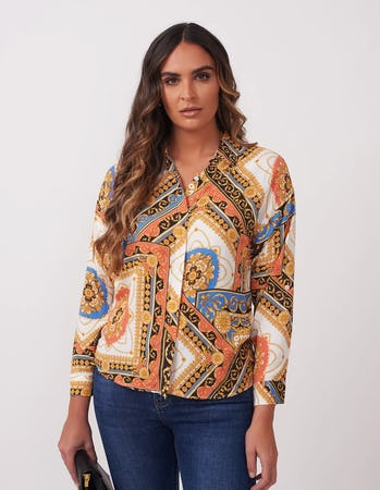 Coral and Blue Baroque Print Shirt