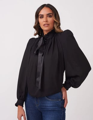 Sheer Black Bow Blouse