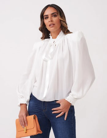 Sheer White Bow Blouse