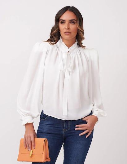 Sheer White Bow Blouse