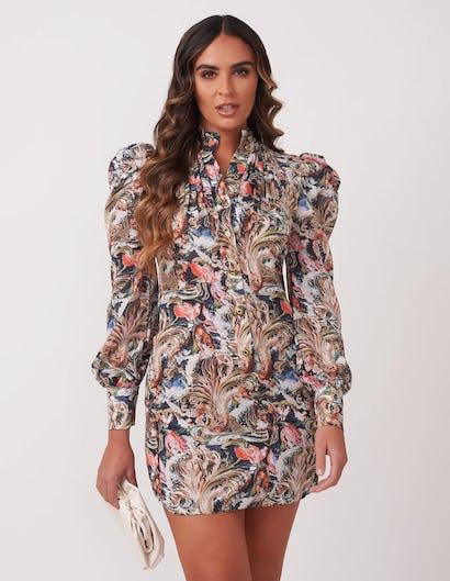 Multi Paisley Print Mini Dress
