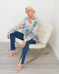 Blue and Cream Tile Print Blouse
