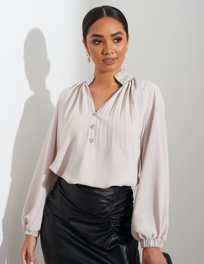 Sheer Light Beige Blouse with Pleated Detail