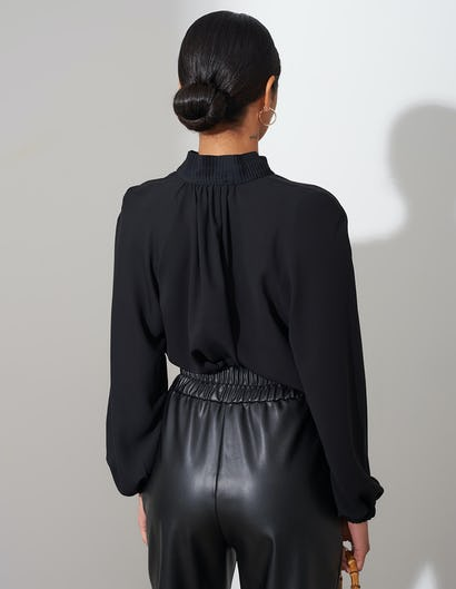 Sheer Black Blouse with Pleated Detail