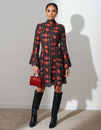 Red and Black Floral Midi Dress