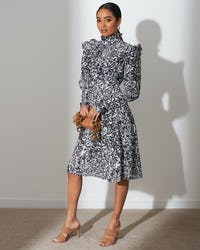 Monochrome Paisley Print Midi Dress
