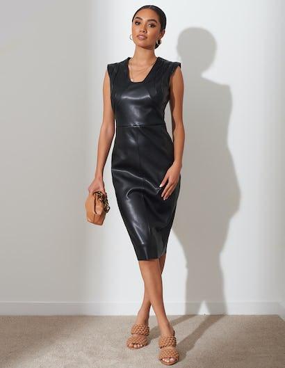 Black Faux Leather Sleeveless Dress