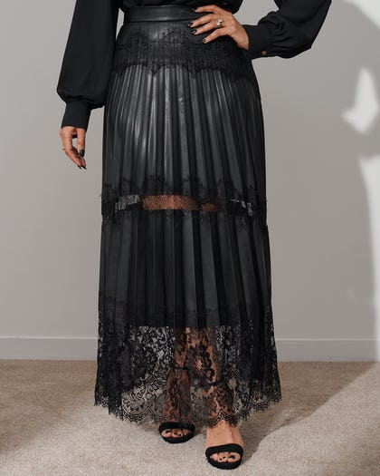 Pleated Faux Leather Lace Maxi Skirt