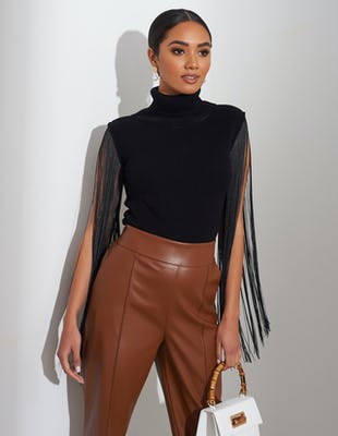 Black Tassel Sleeve Roll Neck Jumper