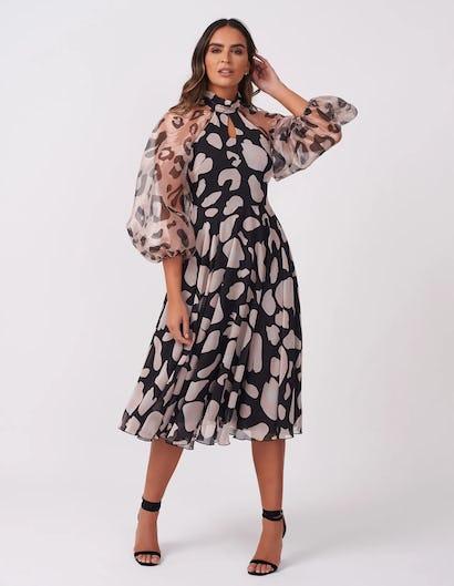 Leopard Print Sheer Midi Dress