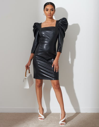 Black Faux Leather Puffed Sleeve Bodycon Mini Dress