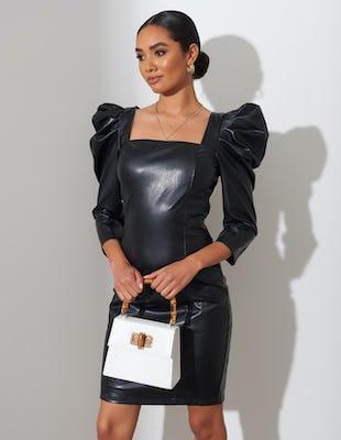Black Faux Leather Puffed Sleeve Bodycon Mini Dress