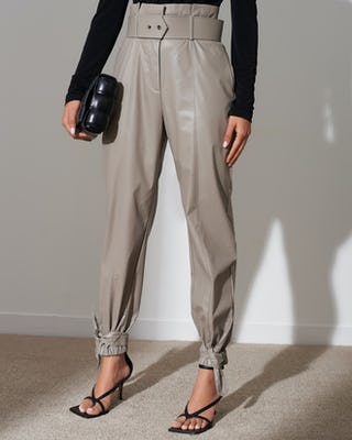 Stone Faux Leather Paperbag Trousers