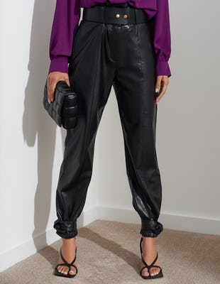 Black Faux Leather Paperbag Trousers